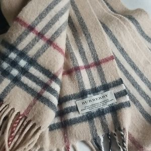 Burberry Plaid Wool Cashmere Fringe Scarf